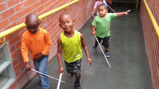 Kids Walking With Cane